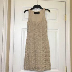 Zara Basic Evening Beige Rosebud Sleeveless Dress